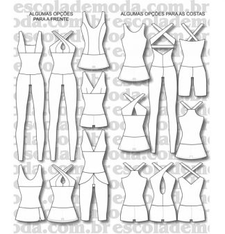 Moldes de macacões e vestidos fitness