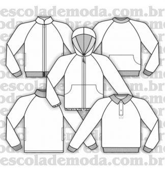 Modelagem de blusões raglan do agasalho infantil