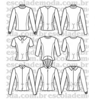 Modelagem de blusas do agasalho feminino