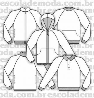 Modelagem de blusas raglan do agasalho unissex
