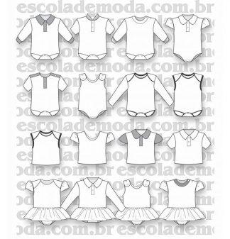 Modelagem de body, blusas e vestidos para bebê