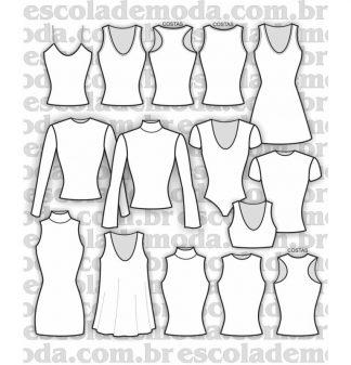 Modelagem de body, blusas e vestidos de malha