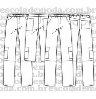 Modelagem de calça e bermuda cargo masculina