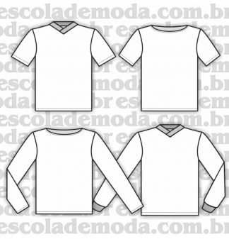 Modelagem de camisetas infantis gola V
