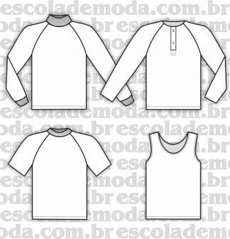 Modelagem de regatas e camisetas raglan