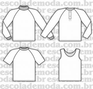 Modelagem de camisetas raglan e regatas infantis e juvenis