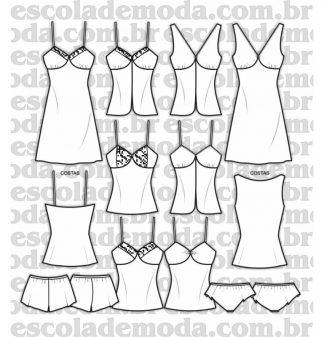 Modelagem de camisolas e baby dolls
