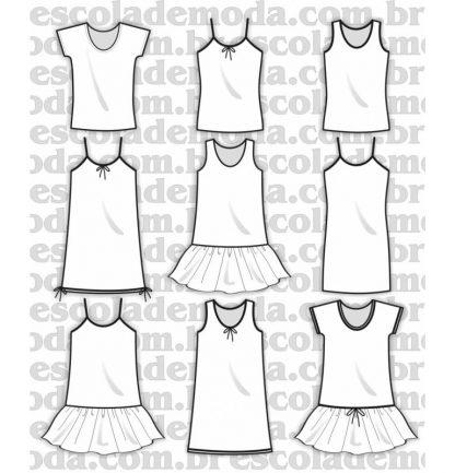 Modelagem de camisolas infantis