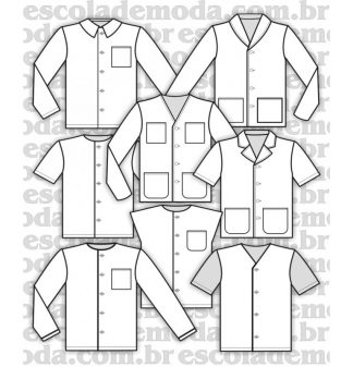 Modelagem de blusas do pijama infantojuvenil