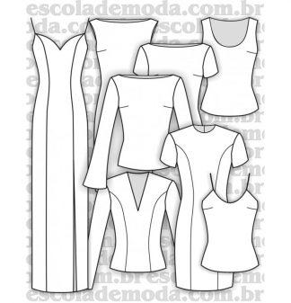 Moldes de vestidos, blusas e regatas