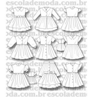 Modelagem de vestidos com manga para bebê e infantis