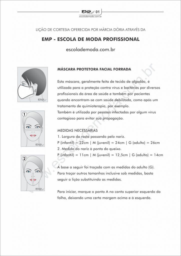 como traçar um molde para máscara protetora facial