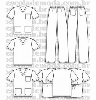 Moldes de pijamas cirúrgicos scrub